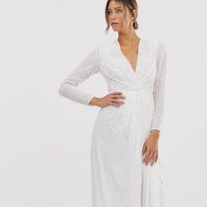 ASOS Edition Pleated Plunge Wrap Wedding Dress